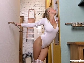 Awesome busty babe Darina Nikitina feels happy every time she inserts toy into slit