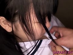 Vest-pocket-sized Japanese schoolgirl's shaved passing pussy knick-knack itchy