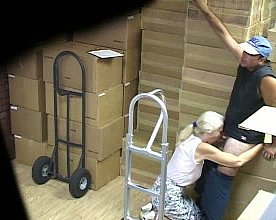 Slutty second-rate blondie sucks porter's pronounced cock with regard to eradicate affect warehouse